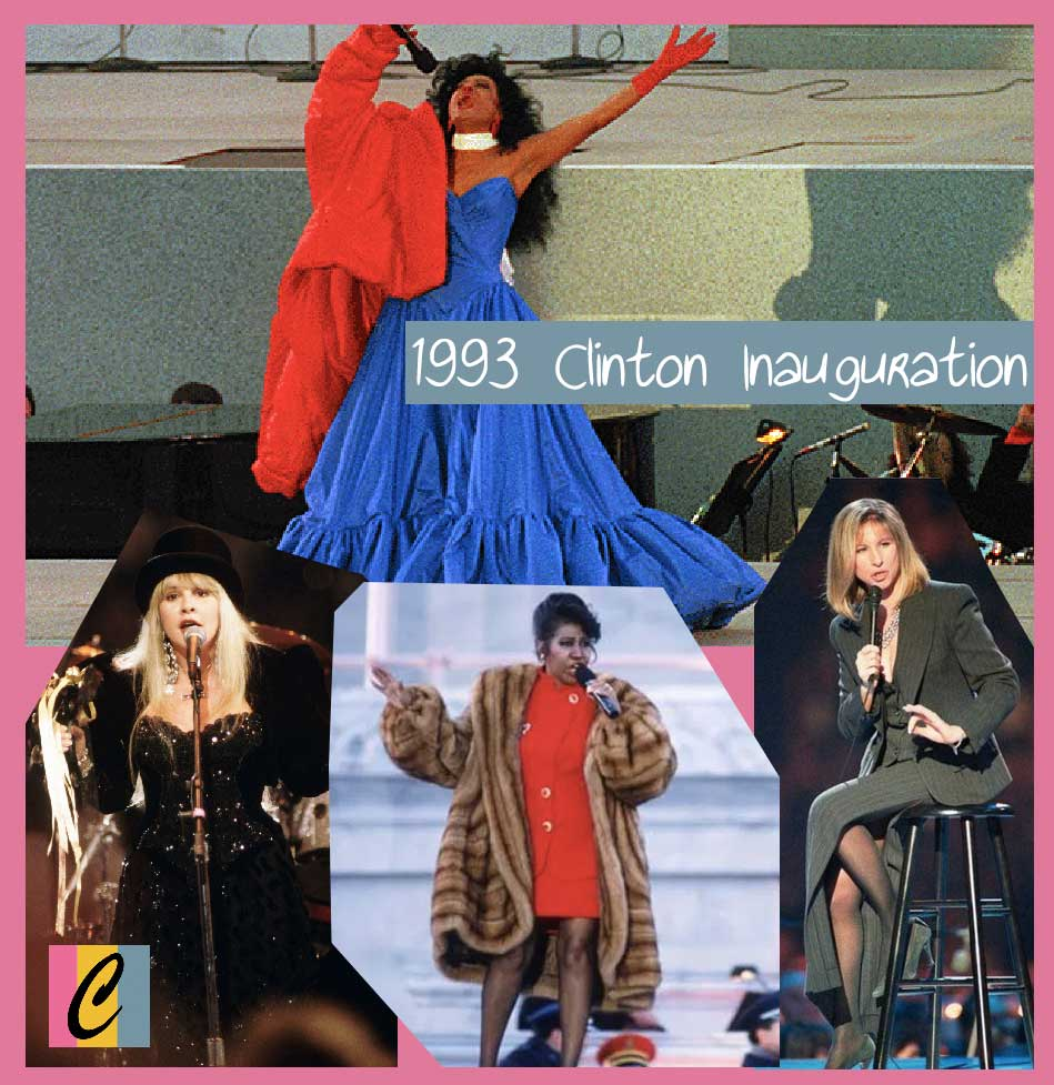 Collage image of performers for Bill Clinton's inauguration in 1993. Includes Diana Ross, Stevie Nicks, Aretha Franklin and Barbara Streisand