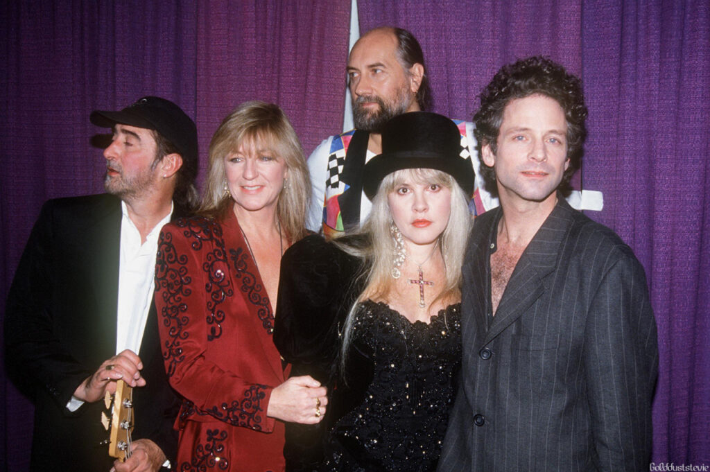 Photo of Fleetwood Mac at Clinton's Post Inaugural Events in 1993. Image of all 5 band members.